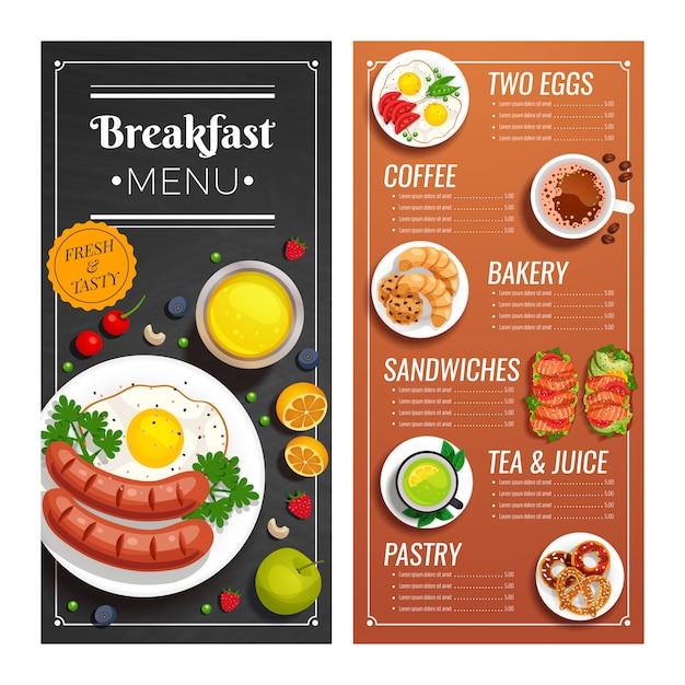 Menu design per caffè e ristorante Vettore gratuito