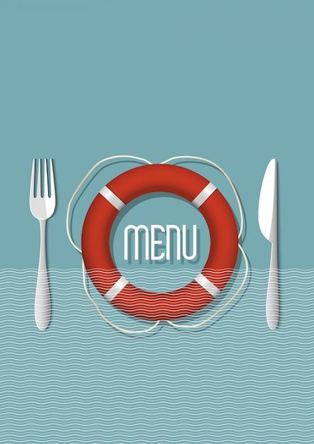 Menu design retrò per ristorante di pesce Vettore Premium