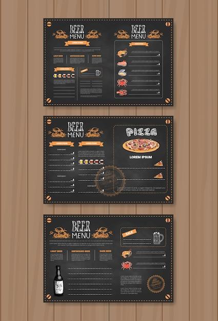 Menu di birra scenografia per ristorante cafe pub col gesso Vettore Premium