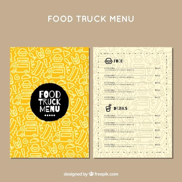 Menu di camion di alimento con disegno a mano Vettore gratuito