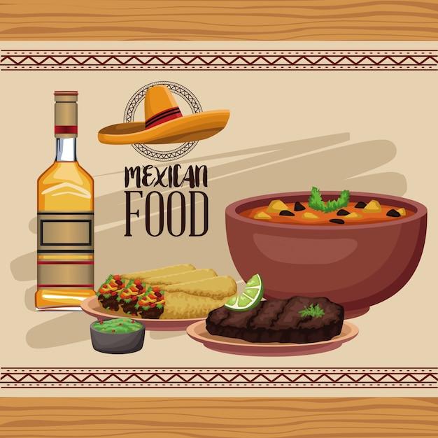 Menu di cibo messicano Vettore Premium