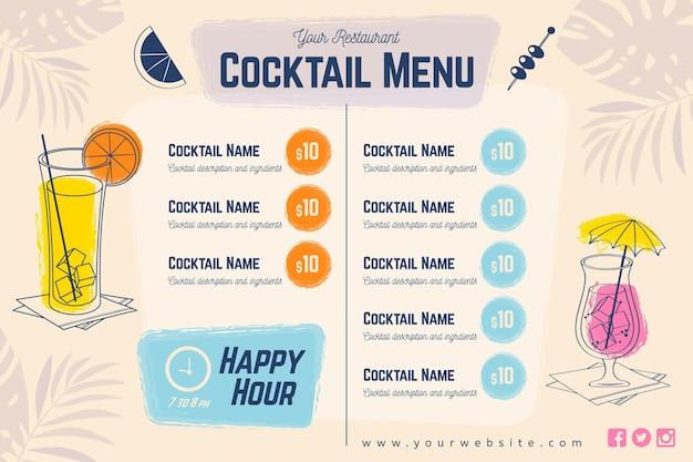 Menu di cocktail con bicchieri e ombrelloni Vettore gratuito
