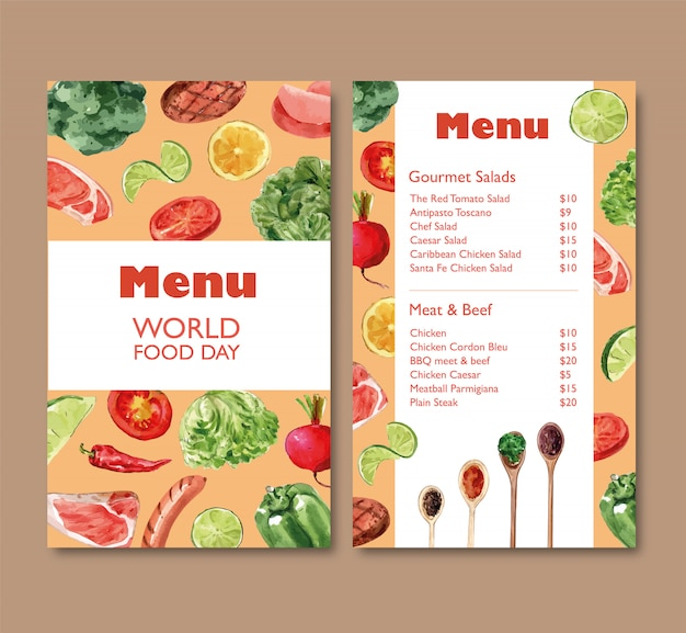 Menu di giorno dell'alimento mondiale con i broccoli, peperone dolce, illustrazione dell'acquerello della barbabietola. Vettore gratuito
