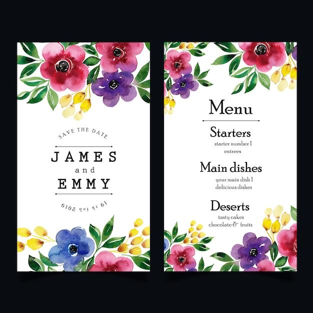 Menu di nozze floreali dell'acquerello Vettore Premium