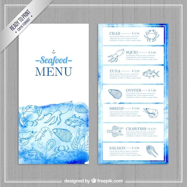 Menu di pesce acquerello Vettore gratuito