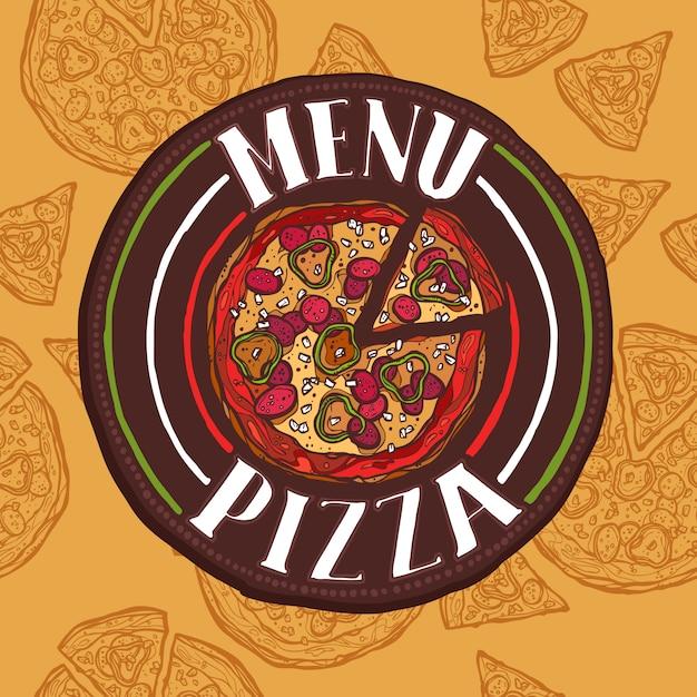 Menu di schizzo di pizza Vettore Premium