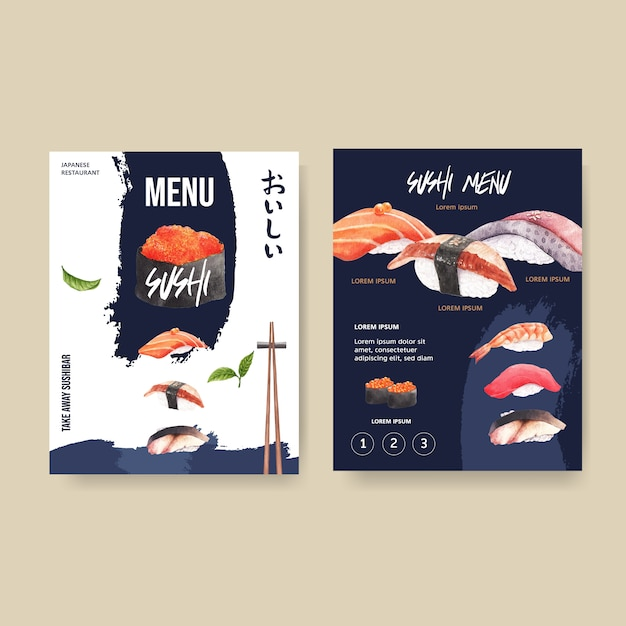 Menu di sushi per ristorante. Vettore gratuito
