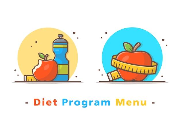 Menu dieta con frutta mela, bottiglia d'acqua e nastro Vettore Premium