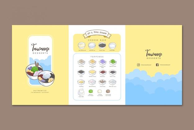 Menu disegnato a mano di dessert taiwanese Vettore Premium
