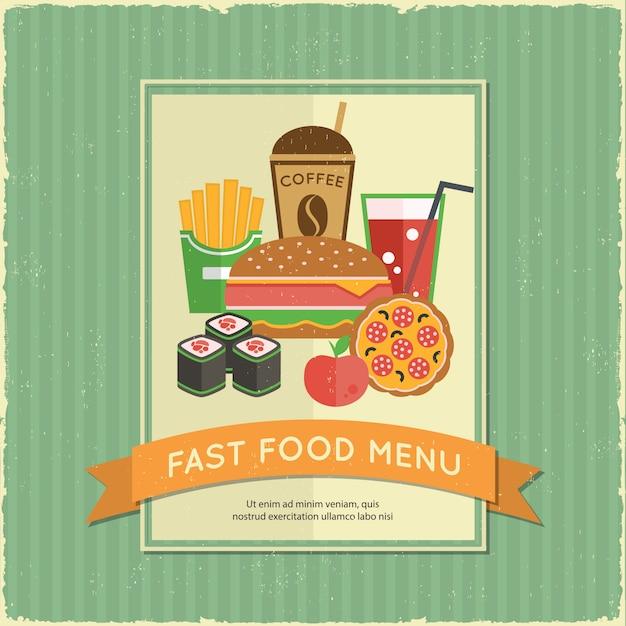 Menu fast food Vettore gratuito