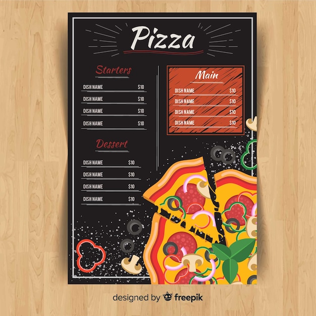 Menu flyer pizza Vettore gratuito