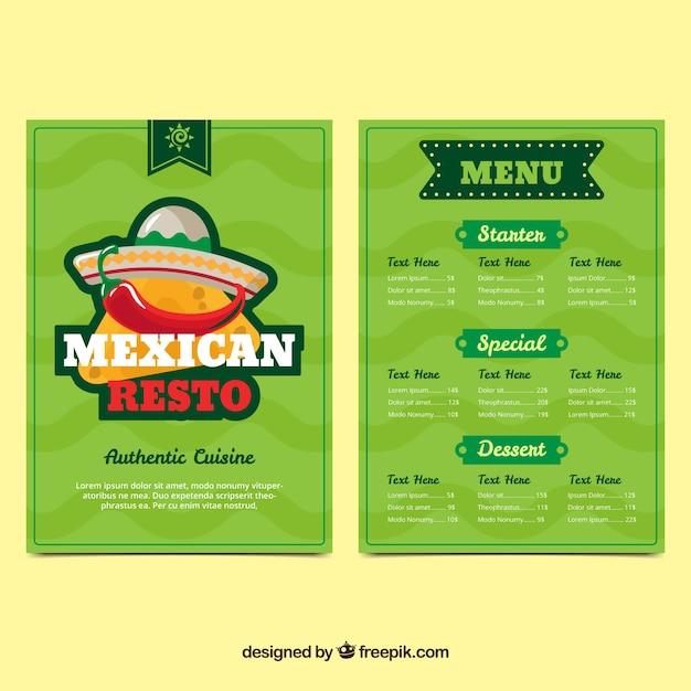 Menu messicano del ristorante Vettore gratuito