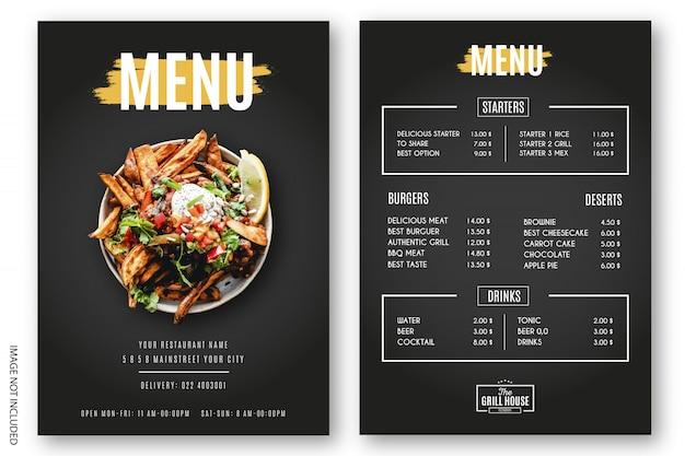 Menu moderno ristorante grill Vettore gratuito
