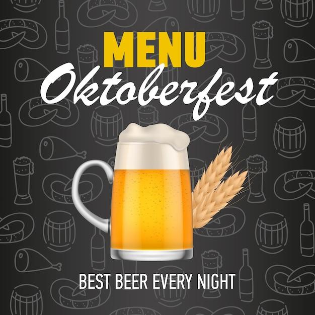 Menu, oktoberfest, birra migliore ogni notte lettering Vettore gratuito