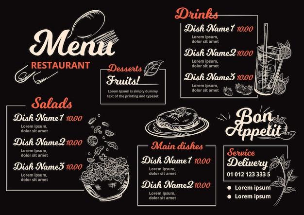 Menu ristorante digitale in formato orizzontale Vettore gratuito