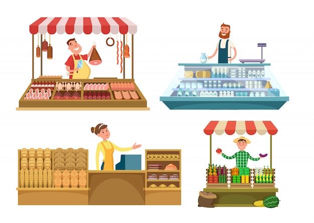 Mercati locali alimenti freschi di fattoria, carne, prodotti da forno e latte. Vettore Premium