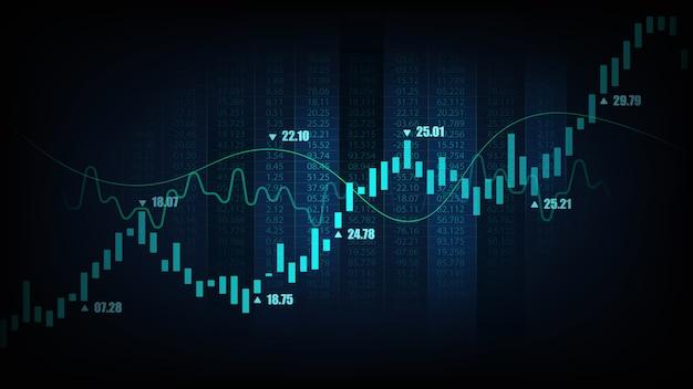 Mercato azionario o forex trading grafico in concetto grafico Vettore Premium