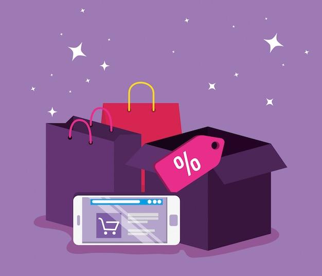 Mercato del sito web di smartphone per lo shopping online Vettore gratuito