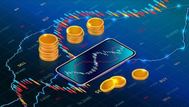 Mercato delle borse ritorno sull'investimento con l'app mobile. forex trading con smartphone Vettore Premium