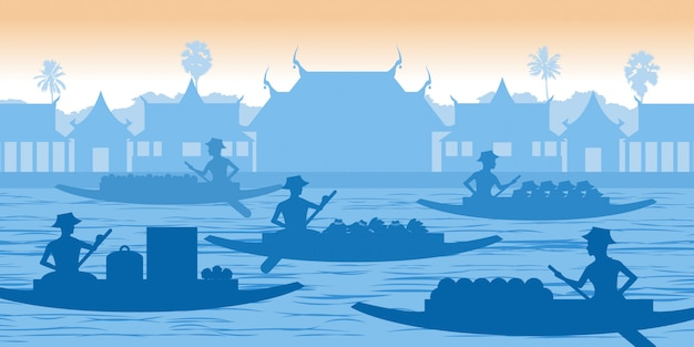 Mercato galleggiante della thailandia Vettore Premium