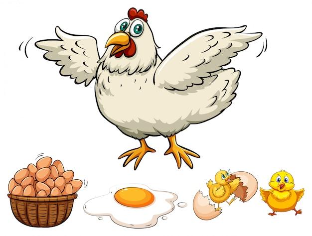 Merce nel carrello delle uova e del pollo Vettore gratuito