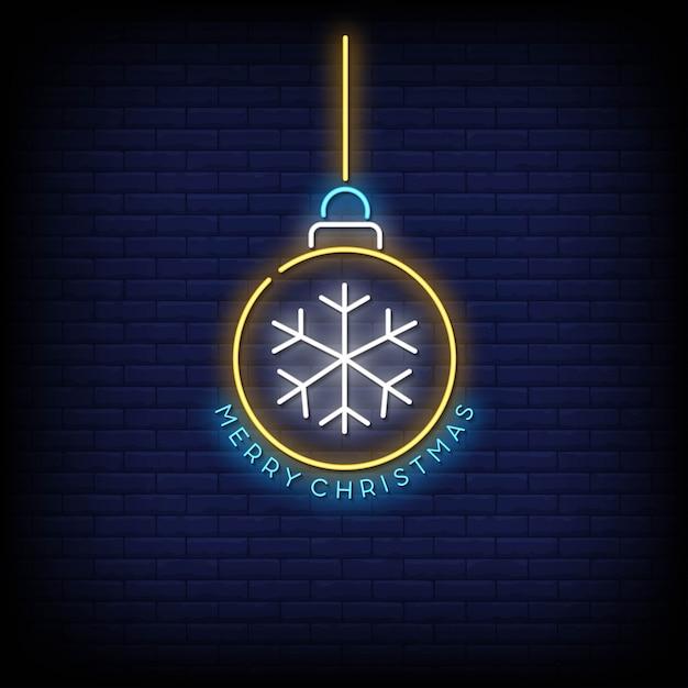 Merry christmas ball insegna al neon Vettore Premium
