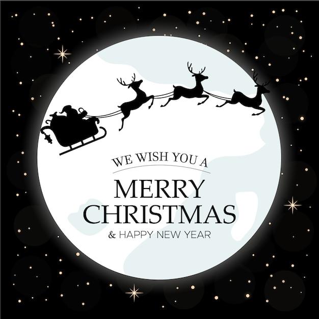 Merry christmas card. cielo notturno invernale con luna e babbo natale in sella a una slitta su di esso Vettore Premium