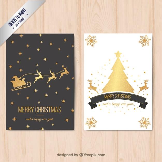 Merry christmas card con decorazione dorata Vettore gratuito