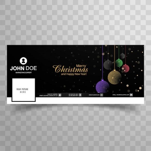 Merry christmas card con il design del modello banner copertina di facebook Vettore gratuito