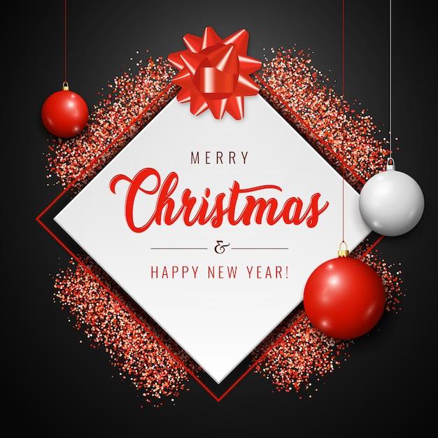 Merry christmas card con palline bianche e rosse, glitter brilla su sfondo scuro Vettore Premium