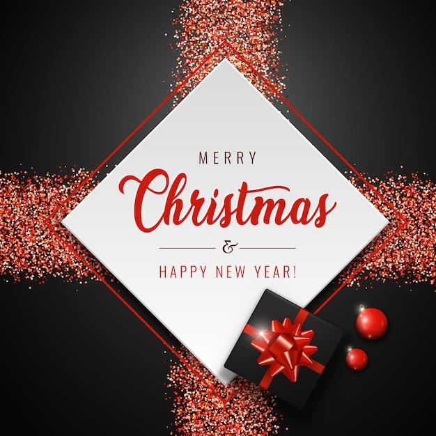 Merry christmas card con quadrato bianco, palline rosse, regali realistici e glitter scintillanti su sfondo scuro. Vettore Premium