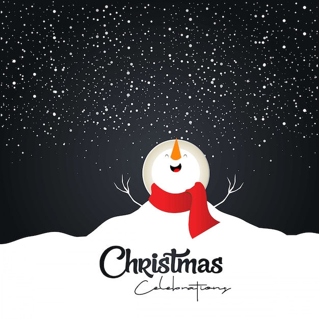 Merry christmas card con sfondo scuro Vettore gratuito