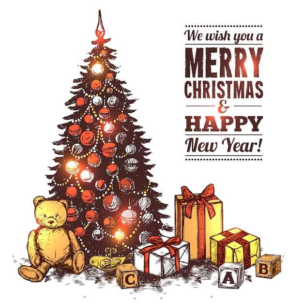 Merry christmas card Vettore gratuito
