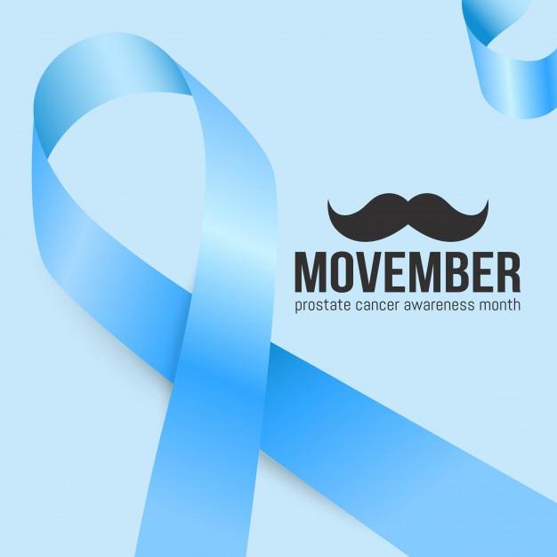 Mese di consapevolezza del cancro alla prostata di movember. baffi e lo sfondo del nastro blu Vettore Premium