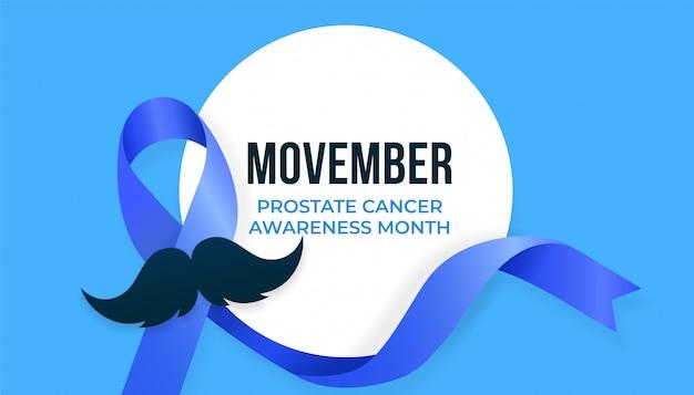 Mese di sensibilizzazione sul cancro alla prostata movember, design della campagna con nastro blu e baffi Vettore Premium