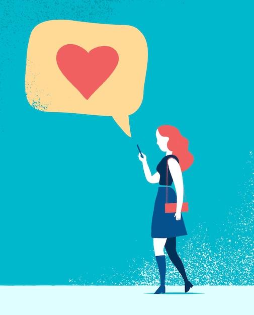 Messaggi di amore di testo di donna Vettore gratuito