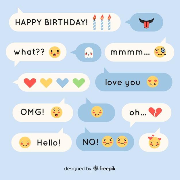 Messaggi di design piatto costituiti da espressioni con emoji Vettore gratuito