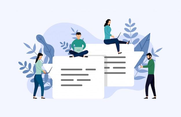 Messaggio bolle chat, chat online persone, illustrazione di affari Vettore Premium