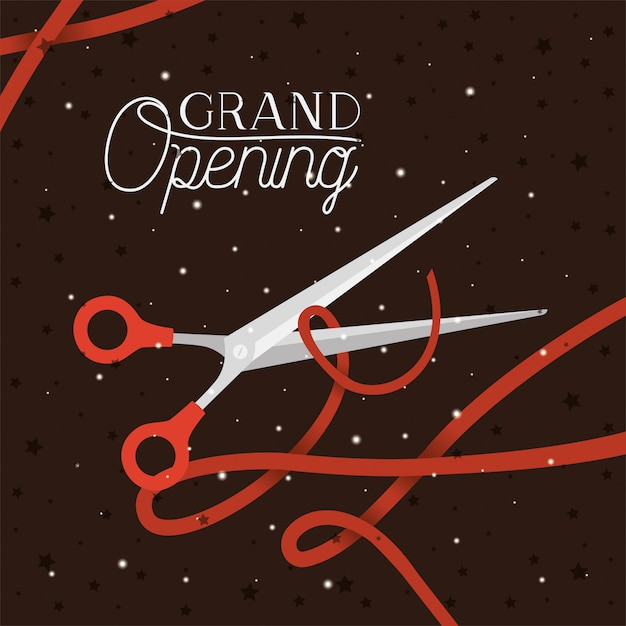 Messaggio di grande apertura con le forbici che tagliano la burocrazia Vettore Premium