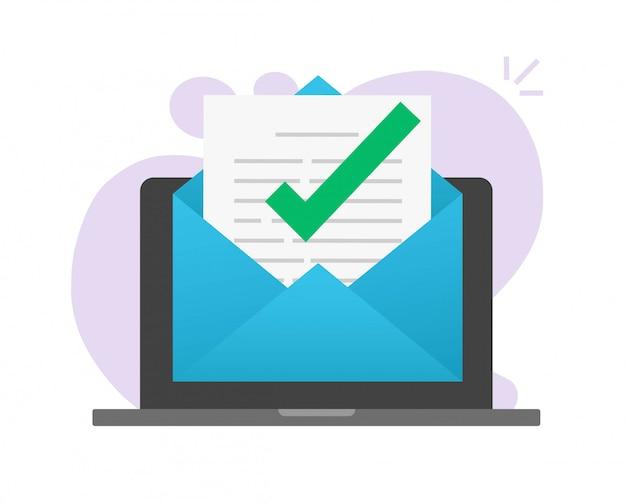 Messaggio di posta elettronica approvato sul computer portatile Vettore Premium