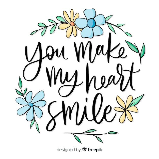 Messaggio romantico con fiori: mi fai sorridere il cuore Vettore gratuito