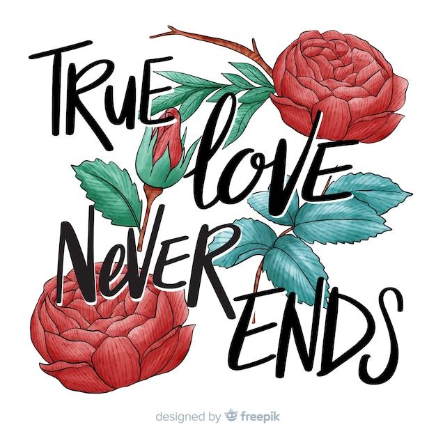 Messaggio romantico con fiori Vettore gratuito