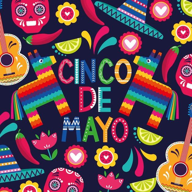 Messico cinco de mayo card Vettore Premium
