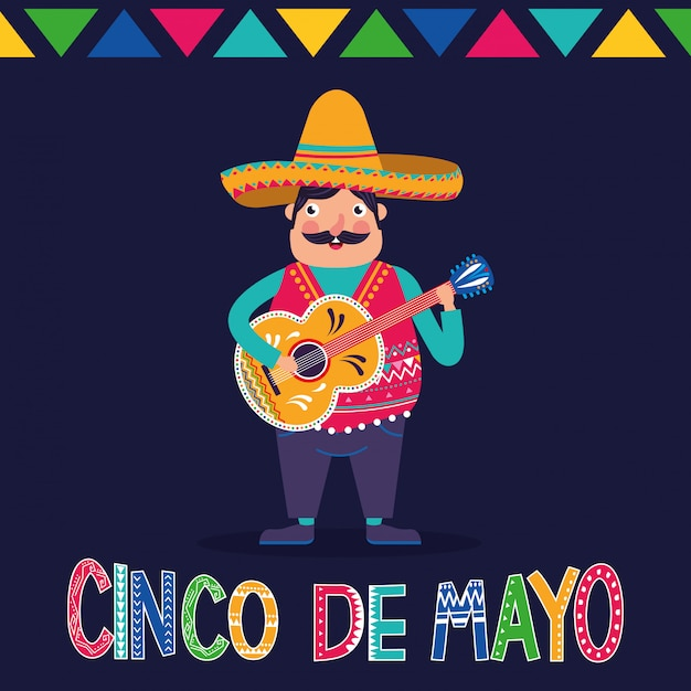 Messico cinco de mayo card Vettore Premium