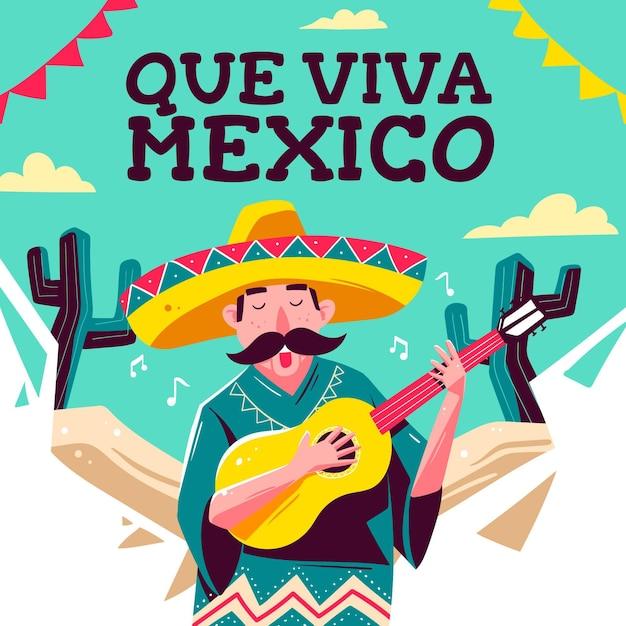 Messico festa dell'indipendenza disegno Vettore gratuito
