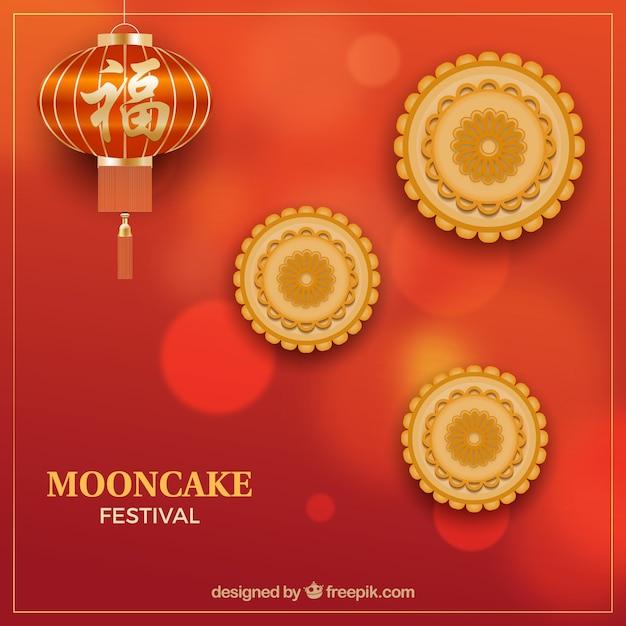 Metà di sfondo autunnale con torta di luna Vettore gratuito