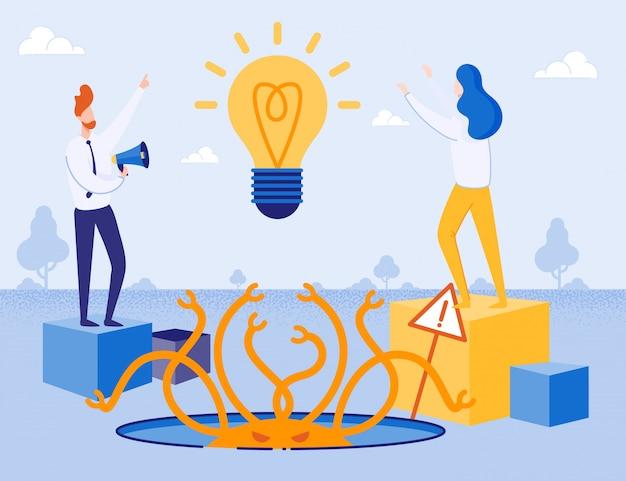 Metafora della creazione di nuove idee e dei rischi aziendali Vettore Premium