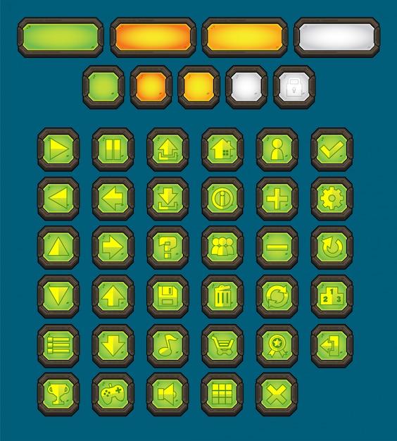 Metal game button pack Vettore Premium
