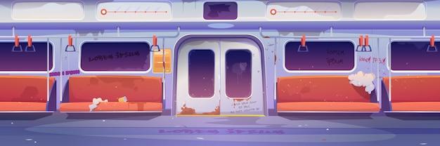 Metro in getto interno vuoto della metropolitana con graffiti Vettore gratuito