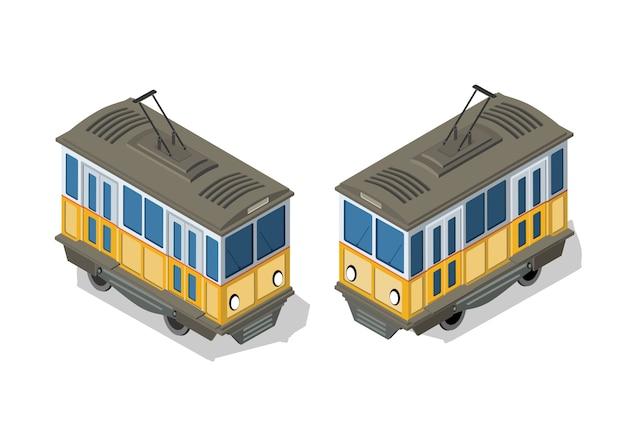 Metro isometrica del tram urbano Vettore Premium